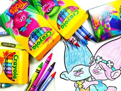 Coloring Poppy and Branch with Dreamworks Trolls Movie Crayola Crayons | Evies Toy House