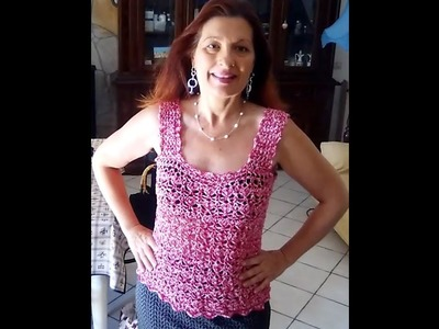 CROCHET SUMMER BLOUSE TOP easy tutorial ANY SIZE