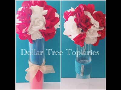 DIY Dollar Tree 4th of July Independence Day Topiaries - Collaboration
