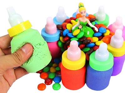 DIY Kinetic Sand Baby Milk Bottles Learn Colors Kinetic Foam Surprise Eggs Toy Opening for Kids