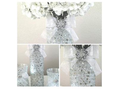 DIY| LIGHT BLING VASE-CANDLE HOLDER CENTERPIECE. WINTER WHITE WEDDING 2017