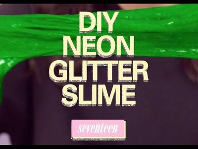 DIY Neon Green Glitter Slime