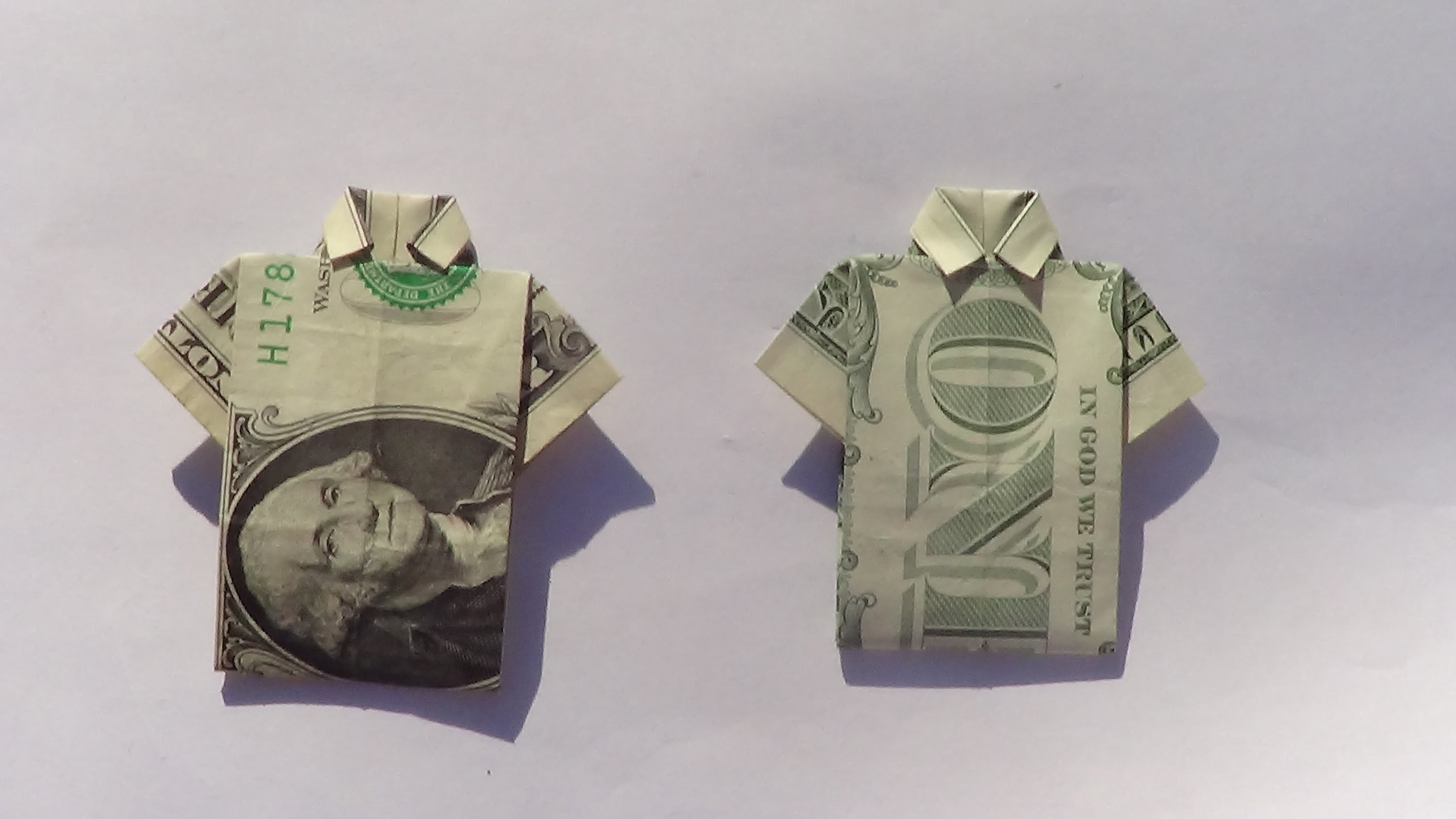 Dollar Origami Shirt (Slow Tutorial) - How to make a ... - photo#28