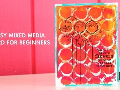 Easy Mixed Media Card using Gel Plates