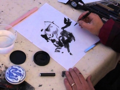 Henry Li Painting a Horse with Warrior in BHA Piston Water Brush and Ink Cake on Rice Paper