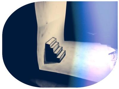 How to draw 3D- Optical illusion- stairs - Rysunek 3D- Iluzja optyczna- schody