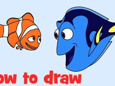 How to draw and coloring Dory with Nemo from Finding Dory