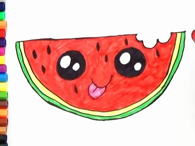 How to Draw Cute Watermelon Slice step by step - Cute and Easy | BoDraw