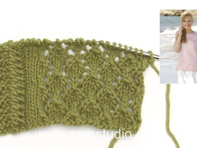 How to knit the lace pattern and lace edge in DROPS 176-12