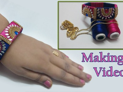 How to make designer half moon silk thread bangles | Pink and Blue silk thread bangles