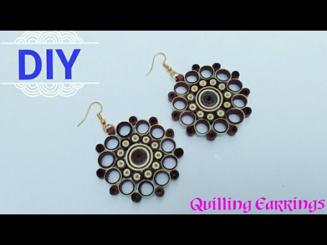 How To Make Paper Quilling Earrings. Paper Earrings. Jewelry Making. Home Made Tutorial. DIY