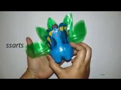 How to make Peacock using with plastic bottle.Best out of the waste.kids crafts