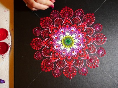 How to paint dot mandalas #15-  Red Dahlia
