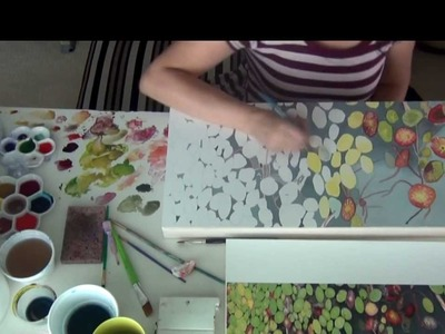 How to paint lily pads with watercolor on paper, a time lapse video