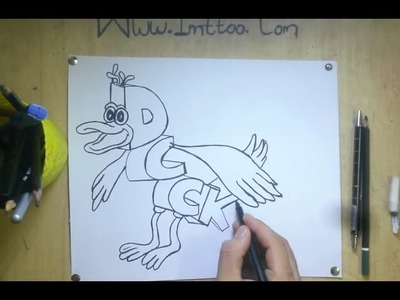 How To Turn Word DUCK into 3D Cartoon - Art on Paper For Kids