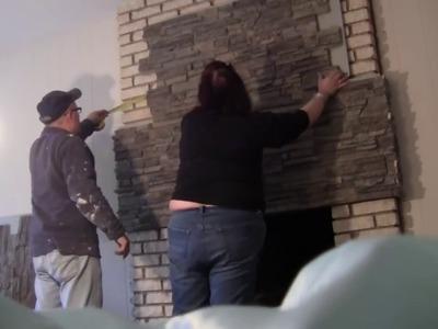Installing Stone Veneer Over a Brick Fireplace | DIY Demo