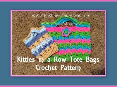 Kitties In A Row Tote Bags Crochet Pattern