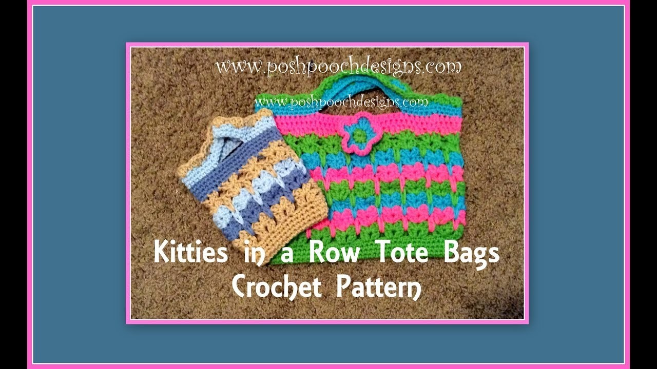 Kitties In A Row Tote Bags Crochet Pattern