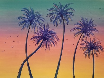 Learn to Paint a Summer Sunset Palm Tree Acrylic Painting LIVE Tutorial