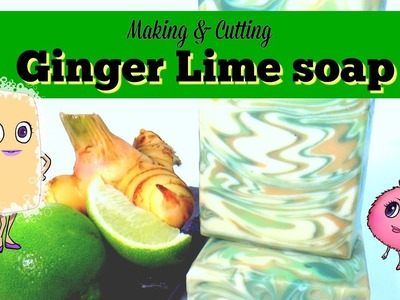 Making and Cutting ' Ginger Lime ' soap | cold process in the pot technique