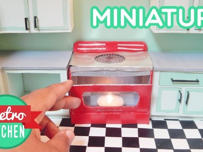 Miniature Tea Light Stove | Retro Miniature Kitchen Room Box 1:12