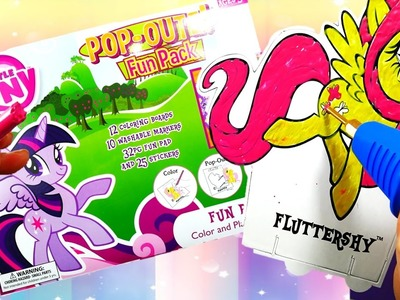 My LIttle Pony Pop Outz Coloring Fluttershy and Sweetie Belle with Craypen | Evies Toy House