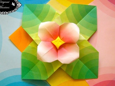 Origami Maniacs 262: Four-Petal Origami Flower and Leaves