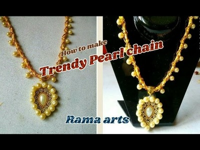 Pearl chain with trendy pendant - making with T-shirt | jewellery tutorials