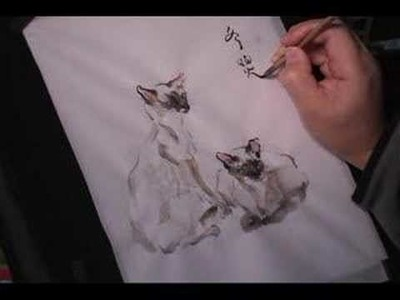 Siamese Cats (4 of 4) - watercolor painting on rice paper