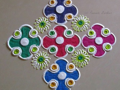 Small, easy and quick rangoli design | Easy Rangoli designs with colors by Poonam Borkar