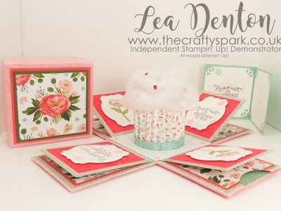 Stampin' Up! Demonstrator Lea Denton - Cupcake Exploding Box Card Birthday Blooms | part 1