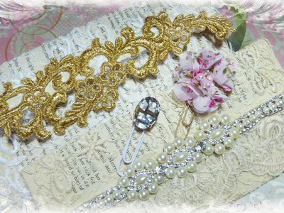 Vintage Style Bookpaper Envelope Tutorial and Fancy Paperclips with Tresors de Luxe