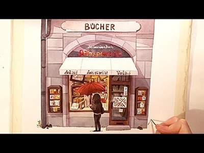 """Watercolor Illustration """"Bookstore"""" with colored pencils speed painting by Iraville"""