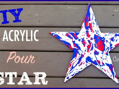 Acrylic Pour Art ~ Red, White and Blue Star Art ~ Craft Klatch DIY