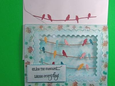 AliExpress Bird Die Layered Card w. Peg Stamps & Chalks