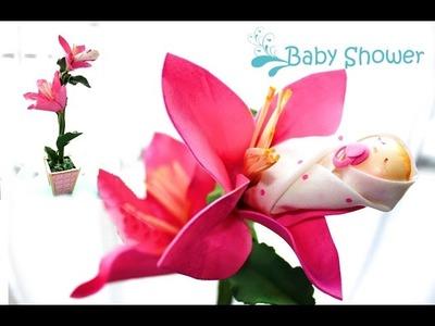 Arranjo de mesa para chá de bebê com e.v.a (baby shower)