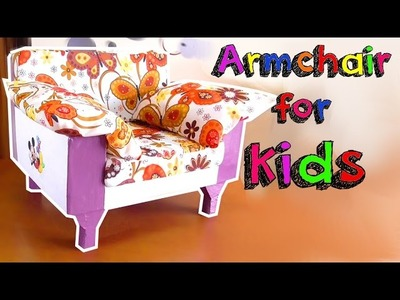 Crafts for kids! Make a miniature armchair with cardboard boxes