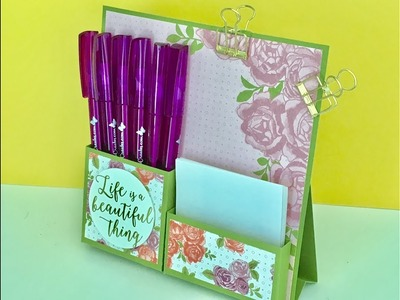 Desktop Notes Tidy - Video Tutorial with Petal Garden DSP by Stampin' Up