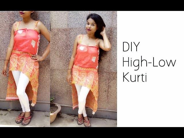 DIY Convert Saree Into High-Low Kurti | Summer Fashion