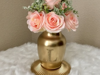 Gold Monogrammed Vase with scented artificial flowers (Dollar Tree, Michaels & Hobby Lobby)