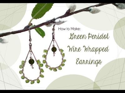 Green Peridot Wire Wrapped Earrings