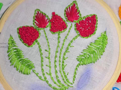 Hand Embroidery flower French knot Stitch by Amma Arts