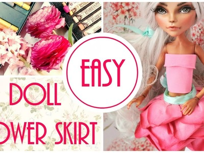 How to Doll Flower Dress Easy.  Barbie, Monster High. DIY Handmade Craft Tutorial