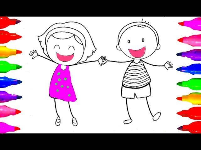 How to draw Boy and Girl Coloring Pages for kids Children Learning with Colored Markers