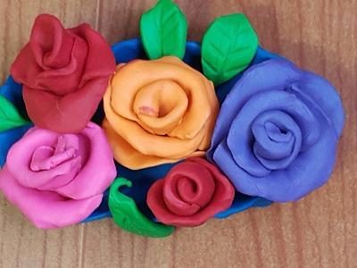 HOW TO MAKE a Play-Doh rose - Cách nặn hoa hồng đất sét cực nhanh với bé