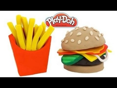How to Make Play Doh Hamburger & Fries   Learn Colors RL