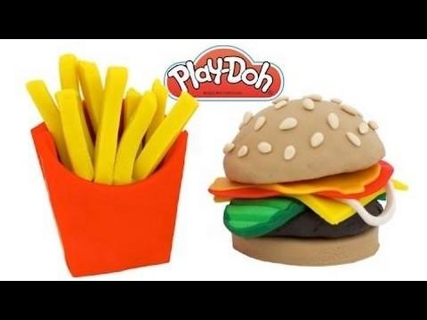 How to Make Play Doh Hamburger & Fries | Learn Colors RL