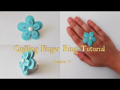 How to Make Quilling Finger Ring Tutorial. Design 7