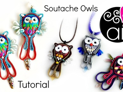 How to Make Soutache Owl   Soutache Pendant  Easy Tutorial for beginners