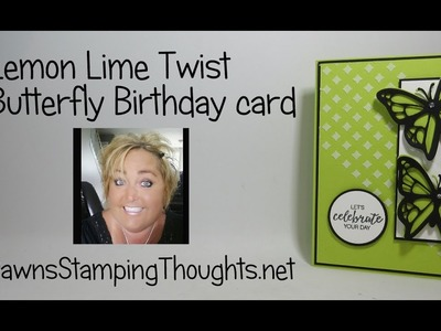 Lemon Lime Twist Butterfly Birthday card
